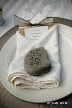 """Outdoor Reception, Flat River Rock Napkin Holder - purchased four stamps from Michaels that had cute sayings on them:  """"If I had ten thumbs, I'd put them all up for you."""" """"They lived happily ever after and then they had to go to work.""""   """"When I see you my eyes turn into little hearts."""" """"Sometimes you just need to take a nap and get over it."""""""