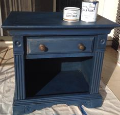 Annie Sloan chalk paint is my new addiction! Napoleonic Blue with Dark Wax