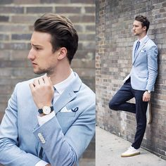 Men's Light Blue Blazer, White Dress Shirt, Navy Dress Pants, White Leather Low Top Sneakers