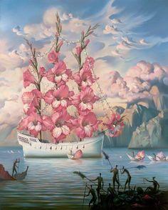 """""""Chegada do Navio Flor"""" do artista russo Vladimir Kush (1965), pintor que se identifica com o """"realismo de metamorfose"""", com desenhos e pinturas que formam imagens """"impossíveis"""". Essa pintura representa um navio navegando entre as ilhas do paraíso terrestre e as pétalas espalhadas no mar são usadas para que as pessoas se aproximem do navio para cumprimentar os tripulantes."""