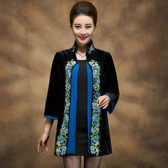Velvet Cheongsam Dress Women Bead Long Sleeve Spring Chinese Tang Suit Tops Large Size 5XL Blue Embroidery Cheongsam Dresses
