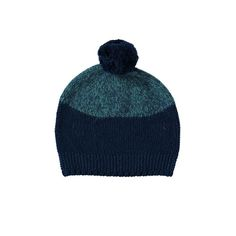 Blue Marl Two-Tone Bobble Hat: Lowie has given a modern two-tone twist to its classic virgin wool pom-pom beanie for autumn/winter 2016.  The top is made from navy blue and mid-blue marl and the bottom of the hat is made from navy wool. It has a moss knit textured hem and is topped off with a navy pom-pom.