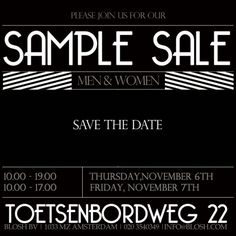 Blosh sample sale -- Amsterdam -- 06/11-07/11