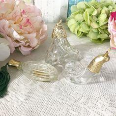 3 Vintage Glass Perfume Bottles Snail Flower shaped figurine Clear Decanter gold lid. Retro Vanity Bathroom décor avon cologne by WonderCabinetArts