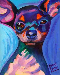 Ay Chihuahua original acrylic painting dog colorful art 8x10 Nancy Daleo Studio Sale