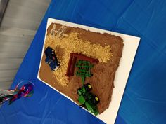 Pickup and tractor theme cake (graham cracker road)