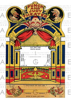 Antique Paper Theater Punch and Judy Theater Guignol Paper Toy Puppets Paper Dolls Hand Puppet Show Instant Download Digital Printable A4