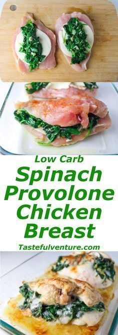 These Baked Spinach Provolone Chicken Breasts are Low Carb and so delicious. So simple to make, just butterfly the chicken breasts, add spinach, and provolone cheese. Then just wrap it and bake it!   Tastefulventure.com