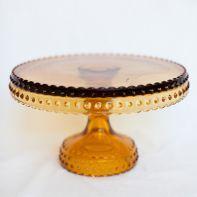 """8"""" Amber Hobnail Pedestal Cake Stand"""
