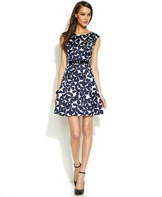 INC International Concepts Belted Printed A-Line Dress