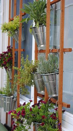 A basic trellis and a few hanging planters (how pretty are the silver buckets?!) turn a basic exterior wall into an elegant vertical garden and the perfect backdrop for outdoor entertaining! Thanks @PopSugarHome for the DIY tip!