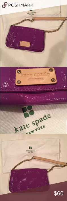 KATE SPADE MINI MIRRA MERIBEL PURPLE SHOULDER BAG Cute and a classic  Purple patent leather, gold chain with leather strap, front flap closure, black polka dot fabric on the inside, credit card holder compartment within. Length 8 height 5 width 1.5 inches. New never been used, however without tags. Dust bag included. kate spade Bags Mini Bags