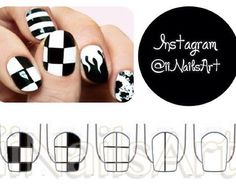 Cool Black And White Tile Nails #Fashion #Beauty #Trusper #Tip