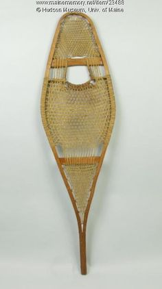 Native American snowshoe, ca. 1900. This size snowshoe was appropriate for a person weighing less than 120 pounds. Snowshoes helped the wearer walk on soft snow. Item # 23488 on Maine Memory Network
