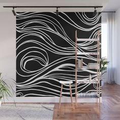 Abstract Swirling Waves / Black and White Wall Mur - Murales Pared Exterior Black And White Baby, Black And White Abstract, Wall Patterns, Painting Patterns, Bedroom Murals, Wall Murals, Animal Decor, Black Decor, Room Paint