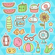 Summer, text, cute, watermelon, food, ice cream, corn, fan, sunflower, flower, beach ball, lantern, drink, sunglasses, cotton candy, fish, goldfish, stars; Kawaii