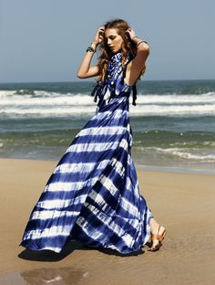 Blue and white silk stripe tie dye