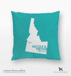 Personalized Idaho State Love Map Bride And Groom Throw Pillow In Radiant Orchid Pantone - Weddings, Engagements, Married Couples