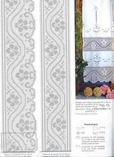 I rather like the wavy line of lace Crochet Curtain Pattern, Crochet Patterns Filet, Bobbin Lace Patterns, Crochet Curtains, Crochet Motifs, Crochet Borders, Crochet Diagram, Crochet Art, Thread Crochet
