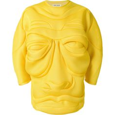 Henrik Vibskov face resembling jumper (770 CAD) ❤ liked on Polyvore featuring tops, sweaters, extra long sleeve sweater, jumper tops, long sleeve tops, long sleeve jumper and yellow top