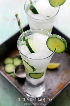 Cucumber Mojito: A delicious and refreshing twist on the classic mojito cocktail made with the addition of cucumbers.