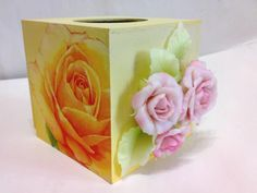 Decoupage and clay roses decorations on tissue box Fb: facebook.com/crafternovice YT: youtube.com/c/crafternovice Blog: http://crafternovice.blogspot.hk