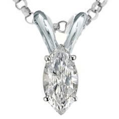 Marquise Cut Diamond Solitaire Pendant and Necklace