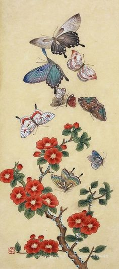 화접도 : 네이버 블로그 Korean Painting, Chinese Painting, Traditional Paintings, Traditional Art, Butterfly Art, Flower Art, Butterfly Illustration, Illustration Art, Asian Artwork