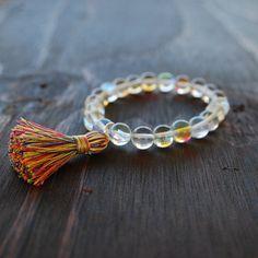 • Hologram Quartz Bracelet with Multi-Colored Tassel - Womens Beaded Bracelet - Yoga Bracelet for Women - Womens Mala Bracelet - Lotus & Lava