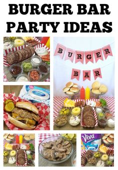 Burger Bar Party Idea Ideas for putting together a burger bar including toppings your party guests will love. Great party idea and easy setup and clean up so you can enjoy the party! Burger Bar Party, Bbq Party, Party Food Bars, Hamburger Bar, Catering Display, Catering Food, Birthday Bbq, Burger Toppings, Gifts For Beer Lovers