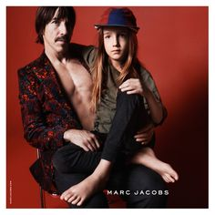 Lead singer of Red Hot Chili Peppers Anthony Kiedis and his son Everly Bear • Marc Jacobs Fall '15 campaign photographed by David Sims