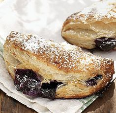 Blueberry-Vanilla Cream Cheese Pies - mini blueberry cheesecakes wrapped in puff pastry