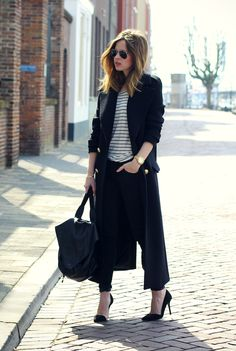 Christine R. [Fash n Chips] in black and stripes; wearing a Zara Studio coat, Massimo Dutti jeans, Zara shoes, ASOS leather backpack, Michael Kors watch and Ray-Ban sunglasses.