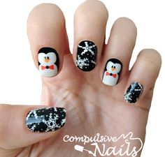 Winter Nail Wraps. Penguin Nail Decals.