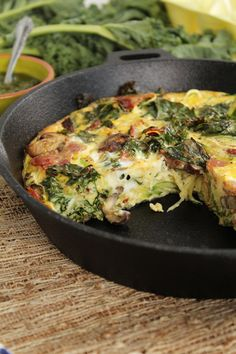 Use GF bacon! PaleOMG – Paleo Recipes – Guest Post: Pesto Zucchini Noodle Bacon Frittata with Mushrooms and Kale