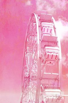 Dreamy baby pink pastel ferris wheel with hot air balloons. Title: Baby Pink Ferris Wheel Carnival Art Decor Size: Also available as a PILLOW here below: Photo Rose, Pink Photo, Aesthetic Roses, Baby Pink Aesthetic, Photo Wall Collage, Picture Wall, Murs Roses, Images Murales, Tout Rose