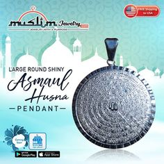 Large Sterling Silver 99 Names of Allah Asmaul-Husnay Pendant for Necklaces Names Of God, Islamic Fashion, Muslim, Allah, Spiritual, Necklaces, Sterling Silver, Pendant, Jewelry
