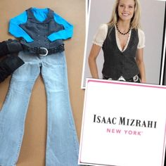 TRENDY VEST BY ISAAC MIZRAHI Charcoal gray herringbone with a beautiful blue mixed throughout.. Double breasted and a black silky back Isaac Mizrahi Tops