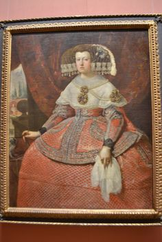 Queen Mariana in a Bright Red Dress, about Velazquez Workshop Female Portrait, Workshop, Museum, Portraits, Bright, Queen, Red, Painting, Mariana