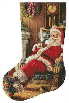 """Santa Resting Stocking (Left)"" Cross Stitch Christmas Stockings, Cross Stitch Stocking, Christmas Stocking Pattern, Xmas Stockings, Christmas Cross, Cross Stitch Material, Everything Cross Stitch, Counted Cross Stitch Patterns, Cross Stitches"