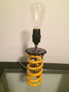 Ohlins shock spring lamp handmade from used motorcycle parts