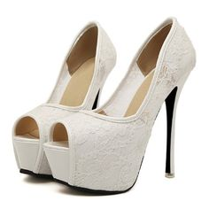 Womens peep Toe Stilettos High Heel Lace Bridal Wedding Shoes Pumps size 6,white - Click image twice for more info - See a larger selection of bridal shoes at   http://zweddingsupply.com/product-category/bridal-shoes/ - woman , wedding , wedding fashion, wedding style, wedding ideas, woman fashion, shoes.