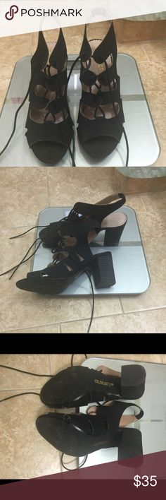 """Black Cage sandals Trendy black suede cage sandals from Restricted, worn once, very comfy, can be dress up or down, heel is 2"""" inches and chunky Restricted Shoes Sandals"""