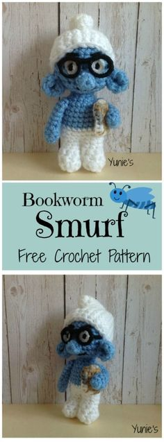 Lalalalala~ Free Bookworm Smurf Crochet pattern