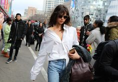 There's always the White Shirt! The Best Street Style Beauty Looks From New York Fashion Week Fall 2017