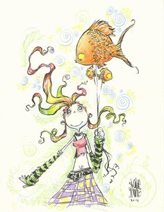 skottie young inks | DailySketch Delirium. Brush, ink, colored pencil. Finally back from a ...