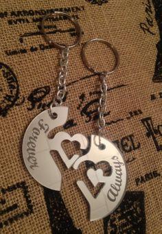 Laser Cut Mirrored Interlocking Heart Key Chain  by TRossCreations, $18.00