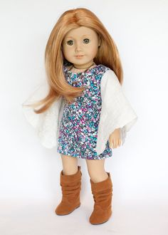American Girl Doll outfit - boho tunic and brown scrunchy boots by EverydayDollwear on Etsy