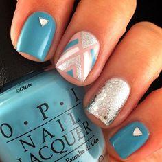 Blue + Nails + with + Silver + by + unasdecoradas + - + Nail + Art + Gallery + Nailartgallery. Fabulous Nails, Gorgeous Nails, Pretty Nails, Get Nails, Fancy Nails, Nail Art Vernis, Nagellack Design, Uñas Fashion, Nails Polish