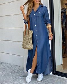 Maxi Shirt Dress, Long Sleeve Shirt Dress, Maxi Dress With Sleeves, Dress Long, Maxi Shirts, Trend Fashion, Look Fashion, Fashion Outfits, Outfits Casual